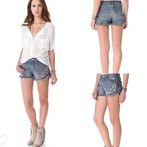free people Tulum Embroidered Jean Shorts